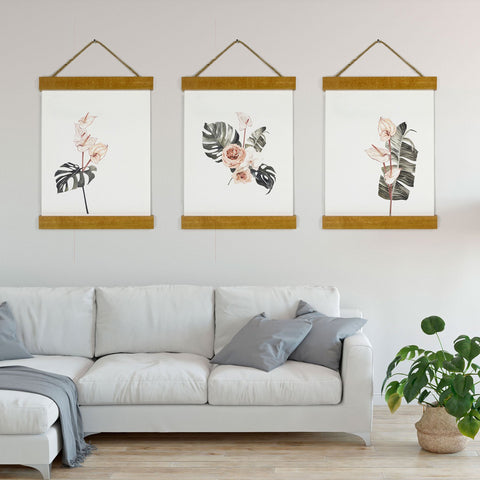 Watercolor Monstera Deliciosa Roses Green Palm Canvas Print - Set of three
