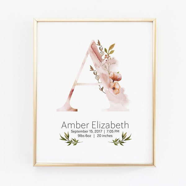 Customized Girl Name Wall Art with Baby Birth Stat Details