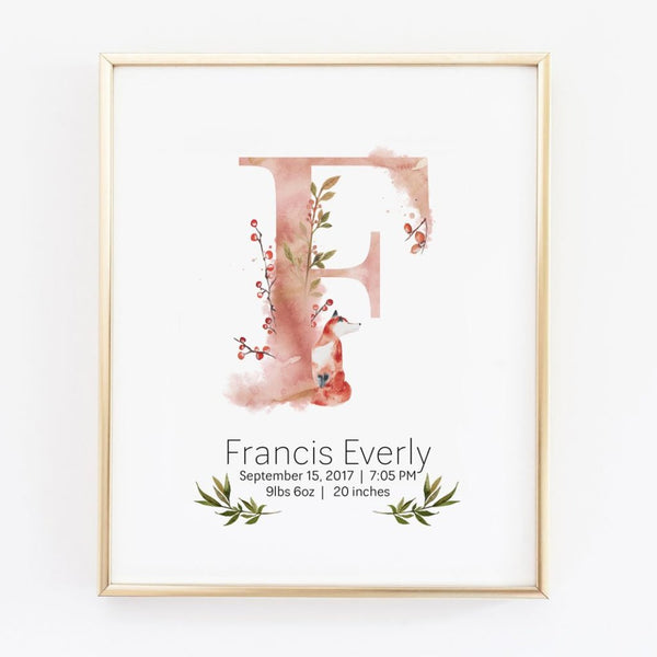 Customized Girl Name Wall Art with Baby Birth Stat Details - Wall Prints