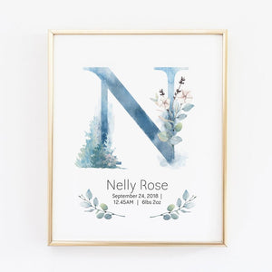 Customized Girl Name Wall Art in blue with Birth Stat Details