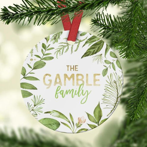Family Ornament with greenery