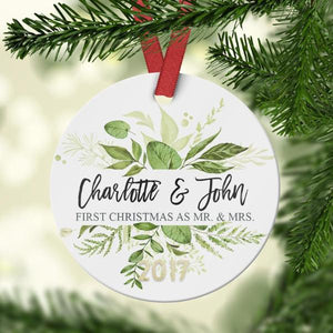 First Christmas as Mr. and Mrs. Ornament with greenery - Ornament