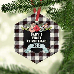 Baby's first christmas with buffalo plaid - Ornament