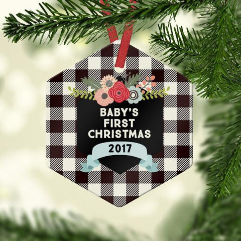 Baby's first christmas with buffalo plaid
