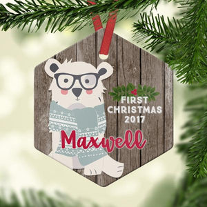 Baby's First Christmas - Custom Bear Ornament - Ornament
