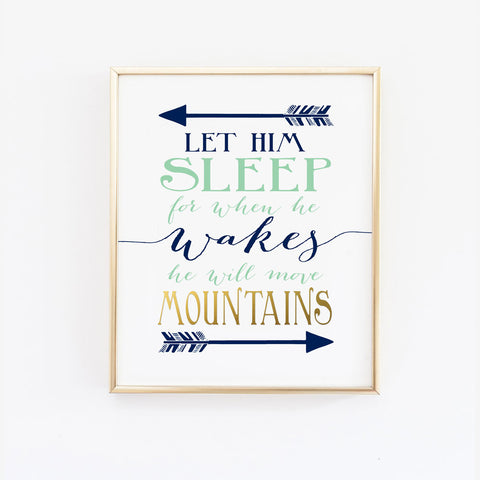 Let him sleep for when he wakes he will move mountains - Navy and Coral, Wall Prints - Wall and Wonder