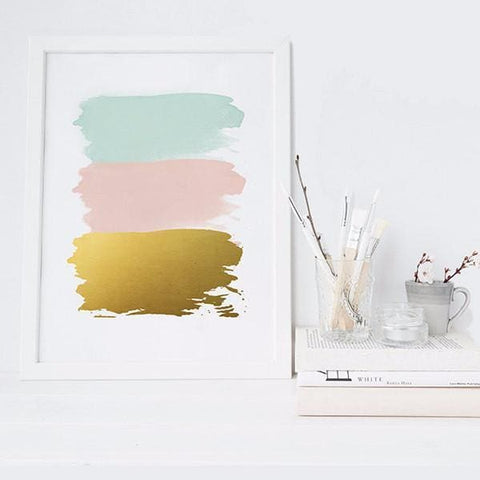 Abstract Brush Strokes - Blush Mint & Gold Wall Print - Wall Prints