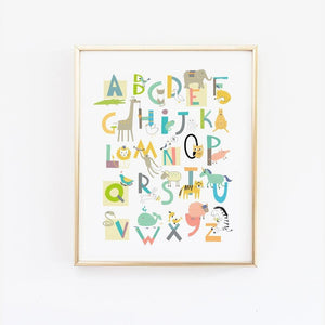 Alphabet Animals Gender Neautral Wall Art - Wall Prints