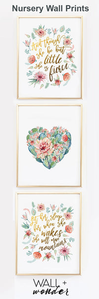 Cactus Nursery Print, Watercolor botanical succulent - Set of 3 - Wall Prints