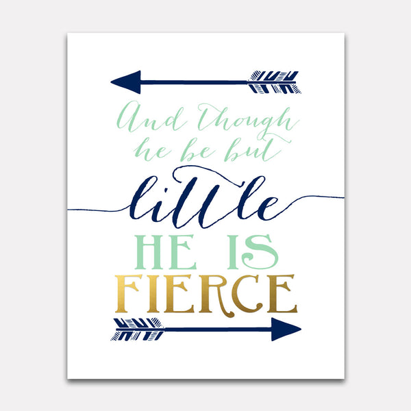 And though he be but little he is fierce - Navy Mint Gold Wall Print