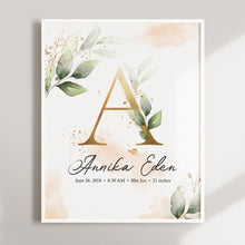Load image into Gallery viewer, Floral Customized Nursery Wall Art with Baby Stats and Name - Set of three
