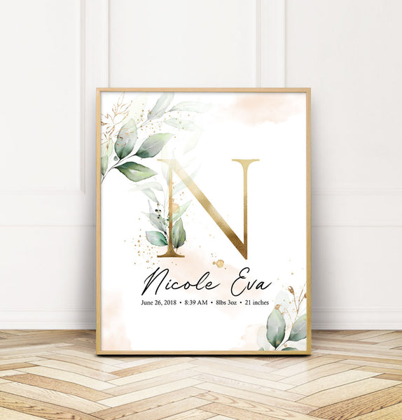 Customized Nursery Wall Print with Baby Name