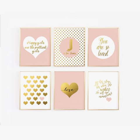 Pink and Gold Nursery Gallery Wall Art with Personalized Name