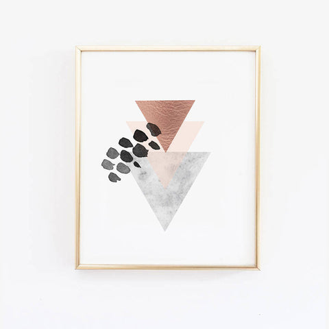 Triangle Scandinavian Geometric Art Print - Nordic Marble and Blush Pink Decor