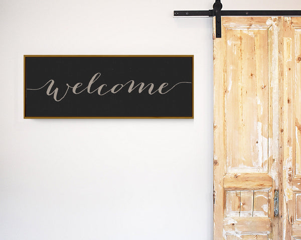 Welcome sign Modern Farmhouse  - Wood sign - Floater Canvas - frame color choice - Wall Decor