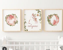Load image into Gallery viewer, Botantical Moons Nursery Print with Custom Name - Set of Three