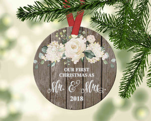 Rustic First Christmas as Mr. and Mrs. Ornament - 2018 Christmas Newlywed Gift - Ornament