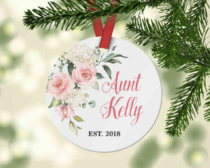 Aunt Est. Christmas Ornament - Pregnancy Reveal to Sister - Ornament