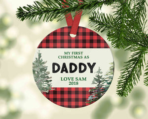 Custom First Christmas as Daddy Christmas Ornament 2018 - Ornament