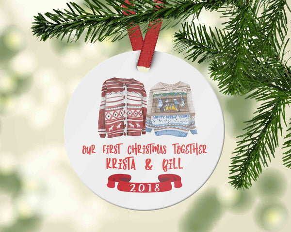 Custom Our First Christmas Together Ornament with ugly sweaters - Ornament