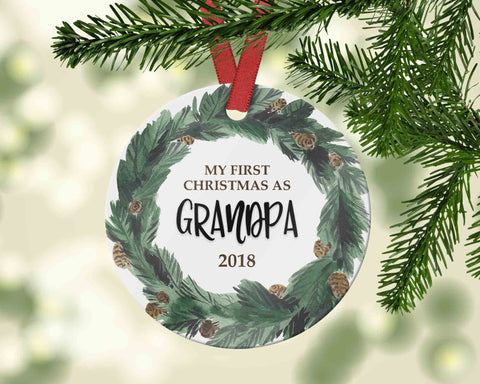Gift for Grandpa Christmas Ornament - Pregnancy Reveal for new baby - Ornament