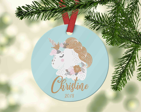 Customized Unicorn Christmas Ornament for Kid - Personalized child's 2018 xmas ornament - Ornament