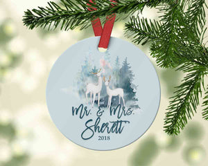 Custom Mr. and Mrs. Ornament, Newlywed Christmas ornament, Wedding gift 2018 - Ornament