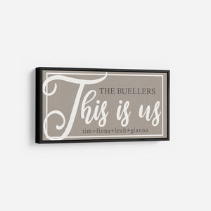 This is us sign - Modern Farmhouse framed Large Wall Art Sign - Rustic Framed Canvas with six frame color choices - Wall Decor