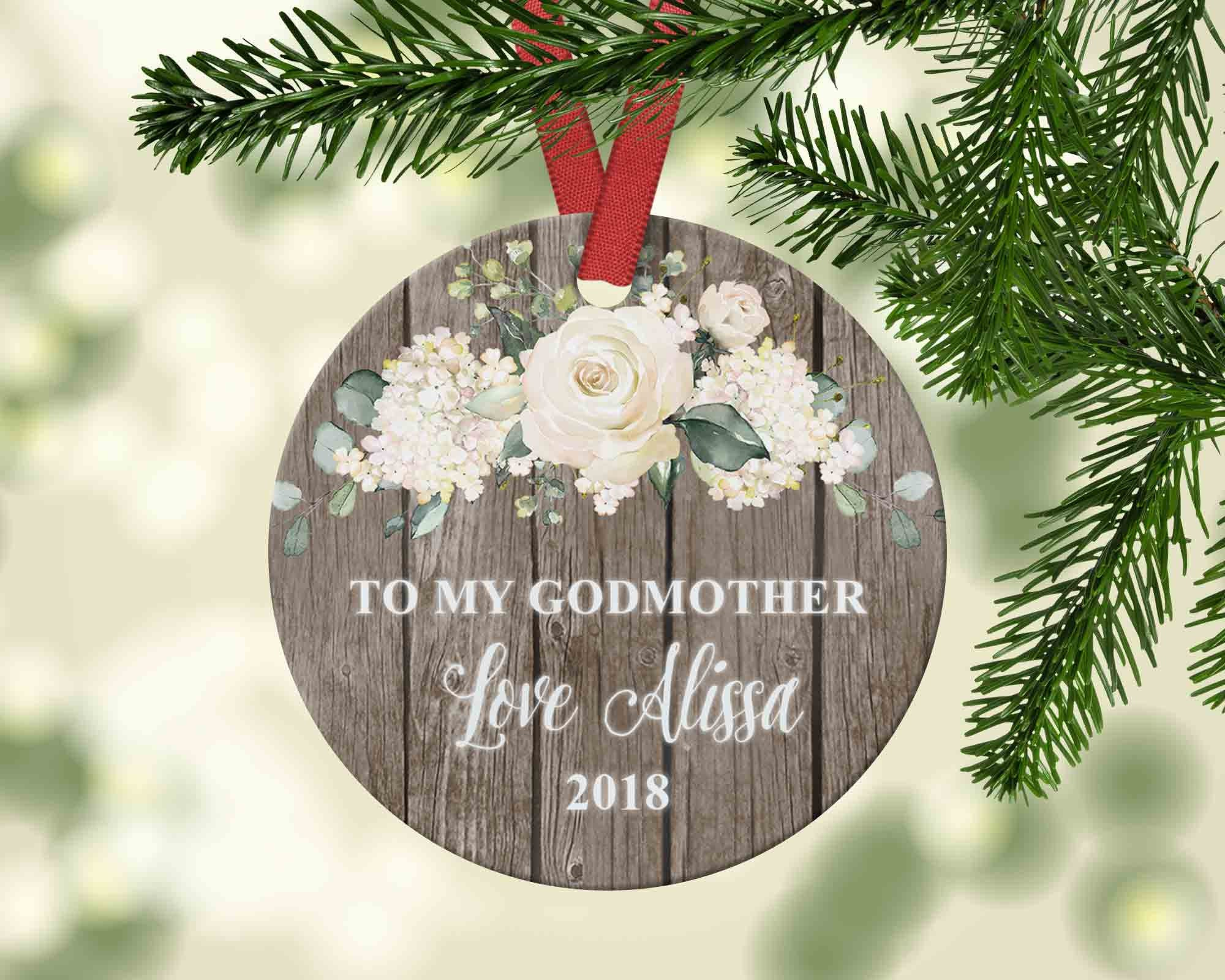 Personalized Godmother Christmas Ornament - Rustic Floral Ornament - Ornament