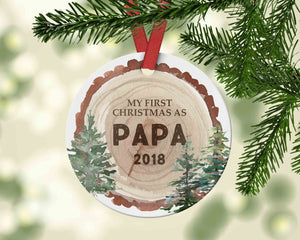 First Christmas as Papa Woodslice Christmas Ornament - Gift from kid to grandpa - Ornament
