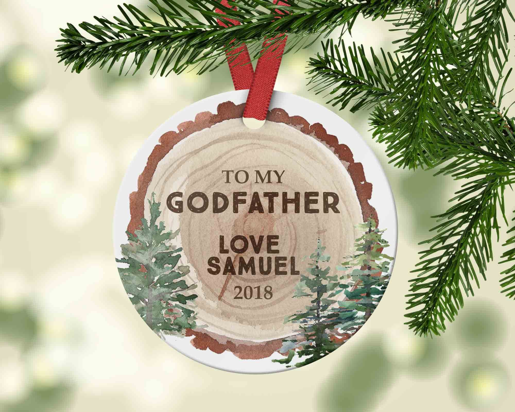 Godfather Christmas Ornament - Woodslice with date - Ornament