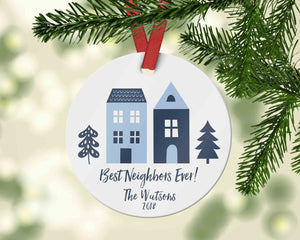 Best Neighbours Ever Christmas Ornament with two blue houses -  Moving or Housewarming Gift - Ornament