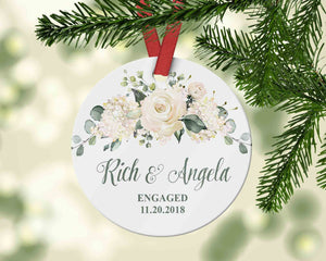 Engaged Ornament with flowers -  Custom First Christmas Together - Ornament