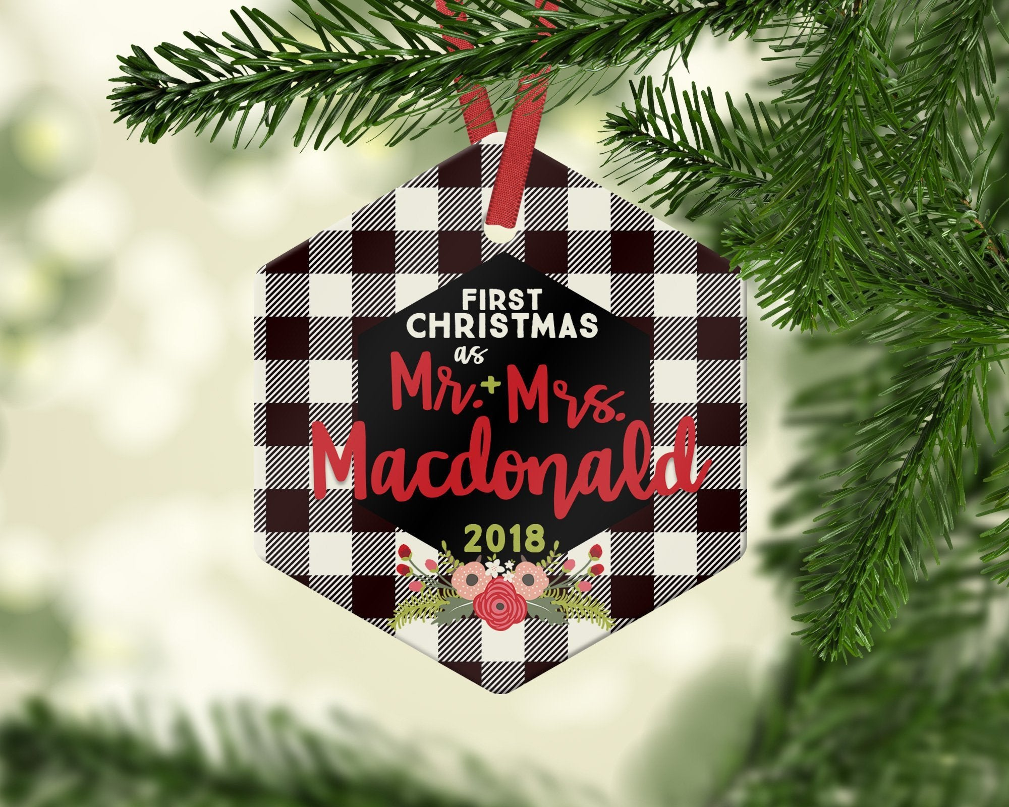 Farmhouse Mr and Mrs Christmas Ornament Customized for gift giving - Ornament