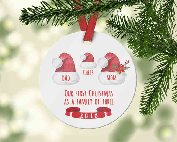 Custom First Christmas as a Family of three with Santa hats -  Family Christmas 2018 - Ornament