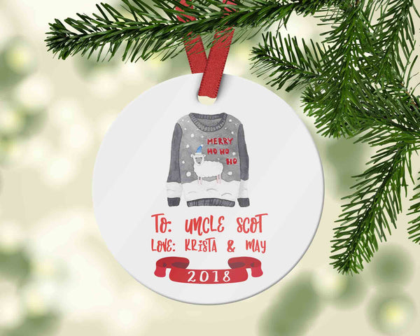 Custom uncle Christmas ornament with ugly sweater - Personalized name ornament - Ornament