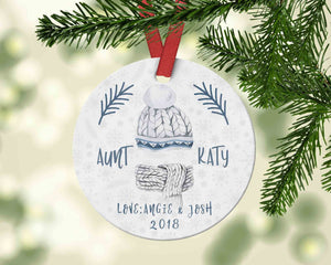 Cool custom aunt Christmas ornament with ugly sweater - Personalized name ornament - Ornament