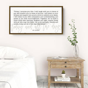 Custom Wedding Vows Print Sign - Wedding or Anniversary Gift for wife or husband - Wall Decor