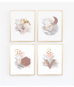 Scandinavian Modern Geometric Wall Art Prints - Set of Four