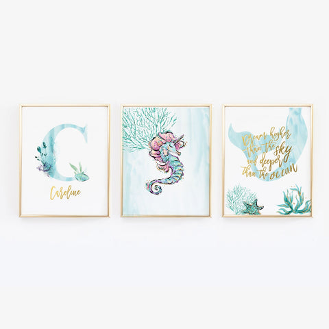 Custom Name Teal Mermaid Wall Art for Nursery