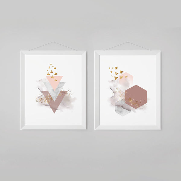 Abstract Shapes Marble Mauve Wall Art with Geometric