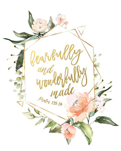 Fearfully and Wonderfully Made Wall Print - Christian Nursery Art Decor