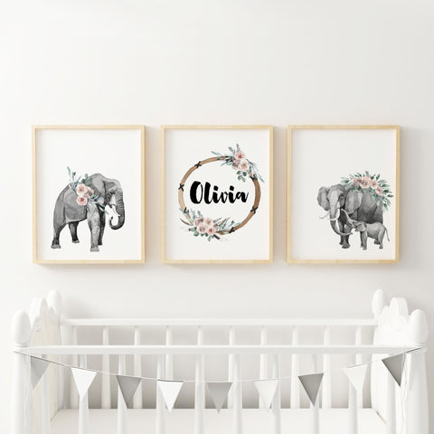 Elephant Boho Nursery Wall Art with Custom Baby Name