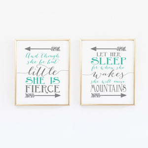 Teal and Gray Girl Nursery Art