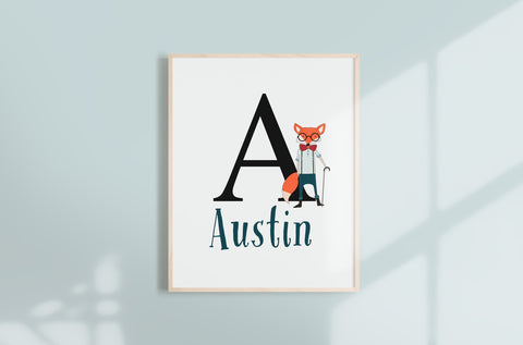 Custom Fox Nursery Name Wall Print