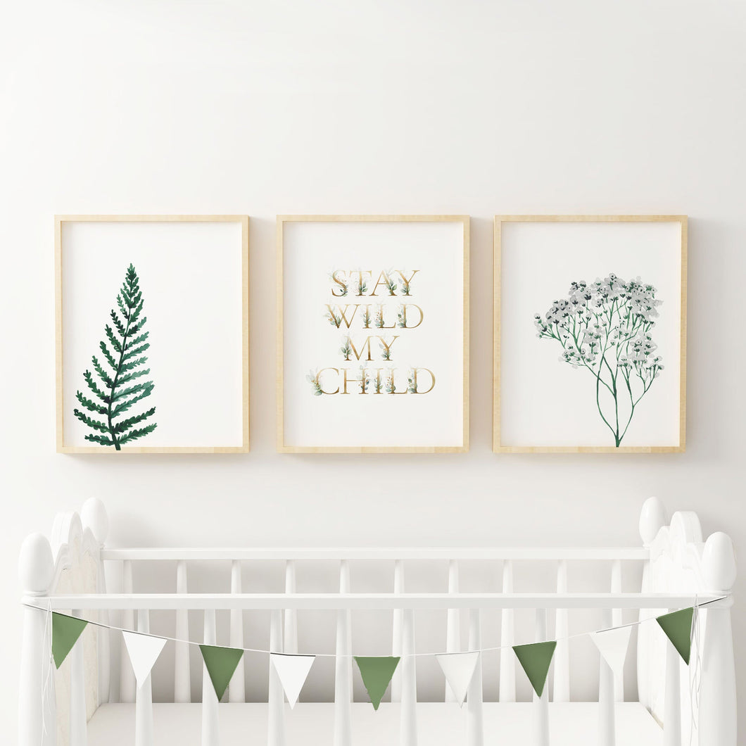 Stay Wild My Child Wall Art - Set of Three Prints