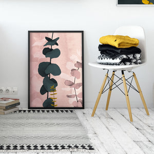 Abstract Pink Eucalyptus Art Print Poster