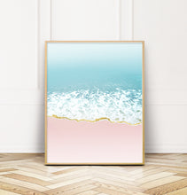 Load image into Gallery viewer, Pink and Blue Coastal Beach Wave Art