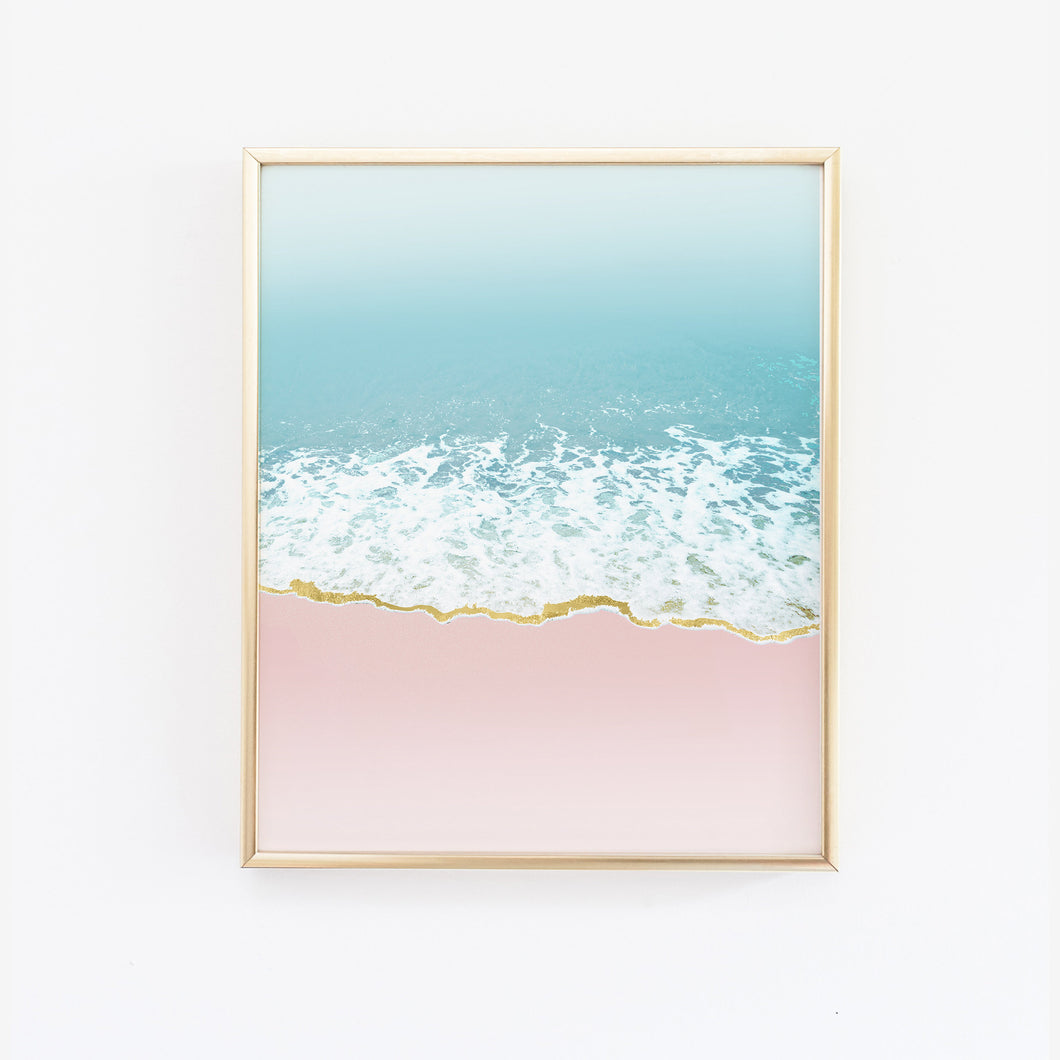 Pink and Blue Coastal Beach Wave Art