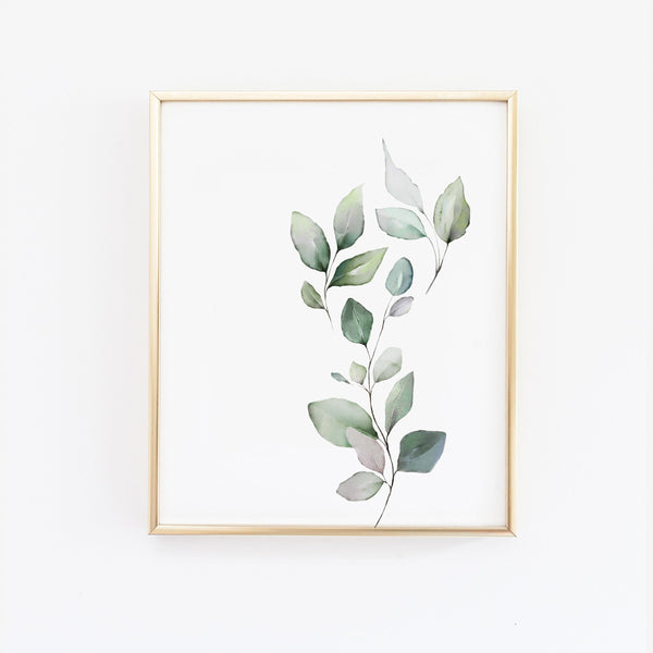 Green Watercolor Leaves Wall Art